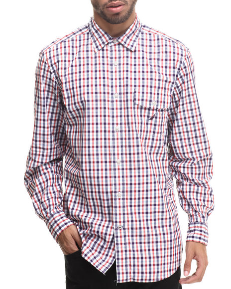 Nautica - Men Red Poplin Slub L/S Button-Down
