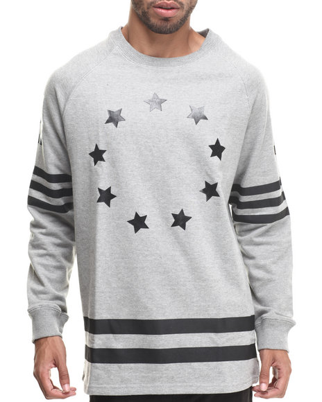 Buyers Picks - Men Grey Athletica Stars Crewneck Sweatshirt