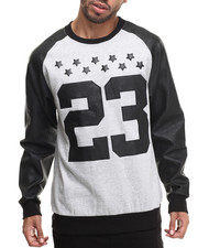 Sweatshirts & Sweaters - Faux Leather Pieced 23 Sweatshirt