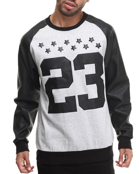 Buyers Picks - Men Grey Faux Leather Pieced 23 Sweatshirt - $45.00