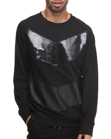 Buyers Picks - Men Black Faux Leather Trim Athletica Sweatshirt - $19.99