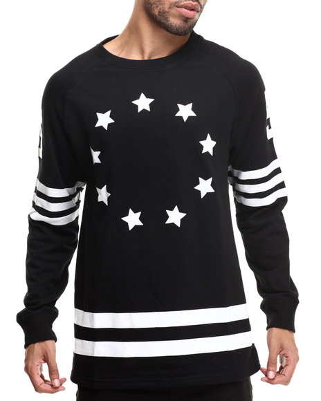 Buyers Picks - Men Black Athletica Stars Crewneck Sweatshirt