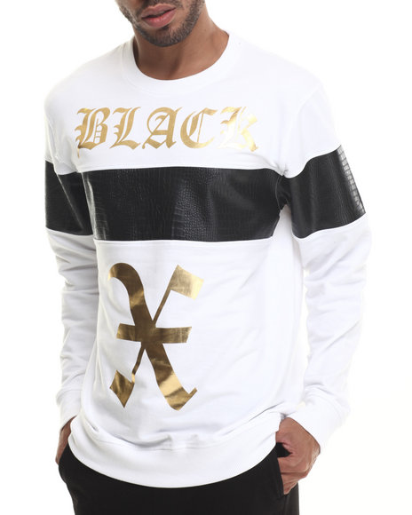Buyers Picks - Men White Athletic Crewneck Sweatshirt