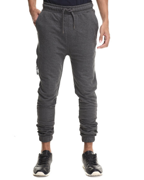 Buyers Picks - Men Charcoal Classic Fit French Terry Jogger Pants