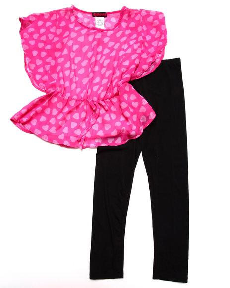 Dollhouse - Girls Pink Hearts Chiffon Tunic & Leggings Set (7-16) - $24.99