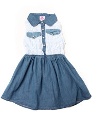 Girls - LACE & CHAMBRAY DRESS (4-6X)