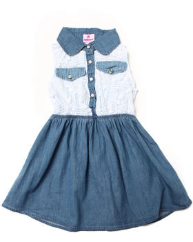 Dollhouse - LACE & CHAMBRAY DRESS (4-6X)