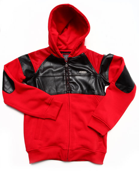 Parish - Boys Red Faux Leather & Mesh Hoody (8-20)