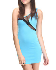 Women - One Shoulder Color Blocked Dress