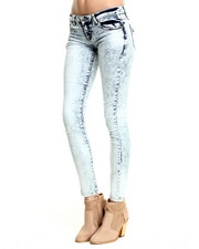 Basic Essentials - Bleached Out Acid Wash Skinny Jean