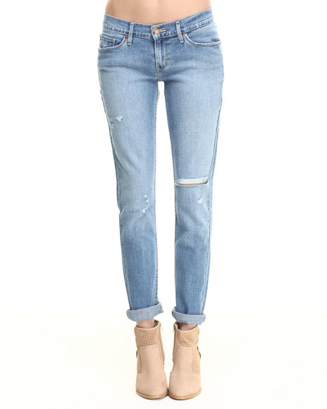 Levi's - Women Blue 524 Skinny Jeans W/Destruction Detail