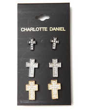 Men - 3-Pair Crystal Cross Earring Set