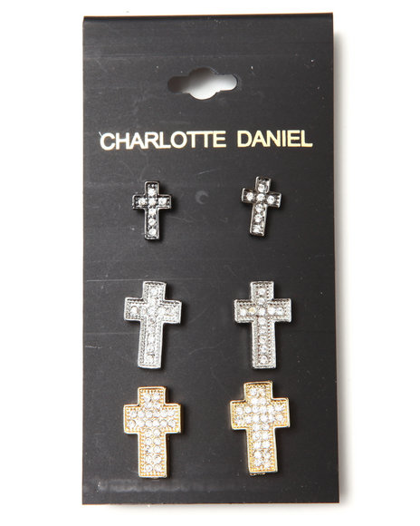 DRJ Accessories Shoppe - 3-Pair Crystal Cross Earring Set