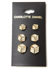 Men - 3-Size Card Set Cube Earrings