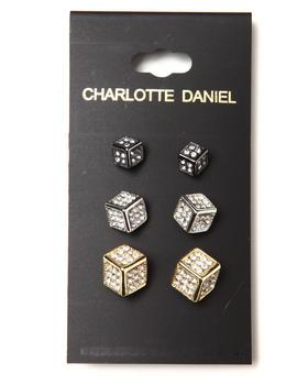 DRJ Accessories Shoppe - 3-Size Card Set Cube Earrings
