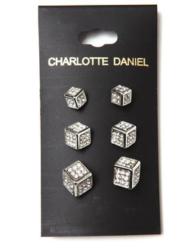 DRJ Accessories Shoppe - 3-Size Card Set Cube Earrings