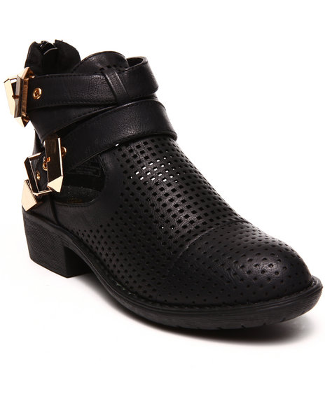 Fashion Lab - Women Black Stoli Perforated Side Cutout Ankle Bootie