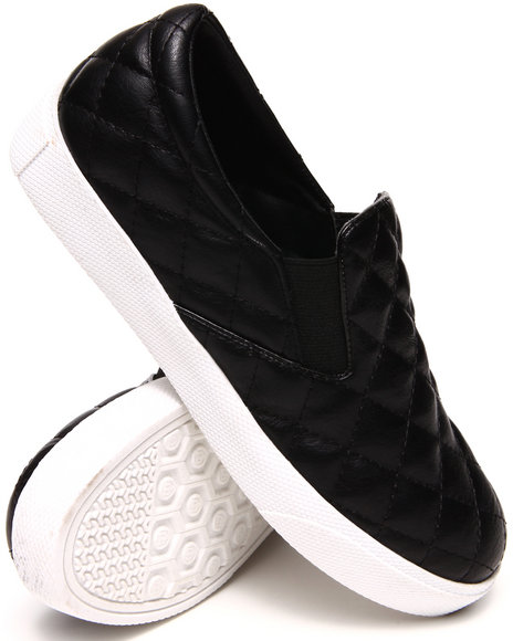 Fashion Lab - Women Black Ollie Quilted Faux Leather Slip On Sneaker