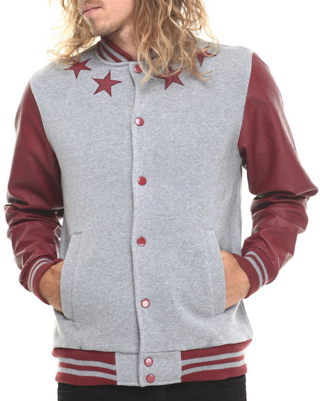 Buyers Picks - Men Grey Athletics & Stars Faux Leather Trim Varsity Jacket