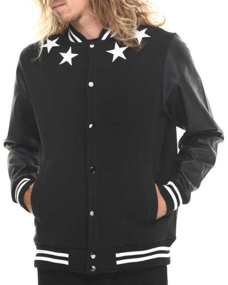 Buyers Picks - Athletics & Stars Faux Leather trim Varsity Jacket