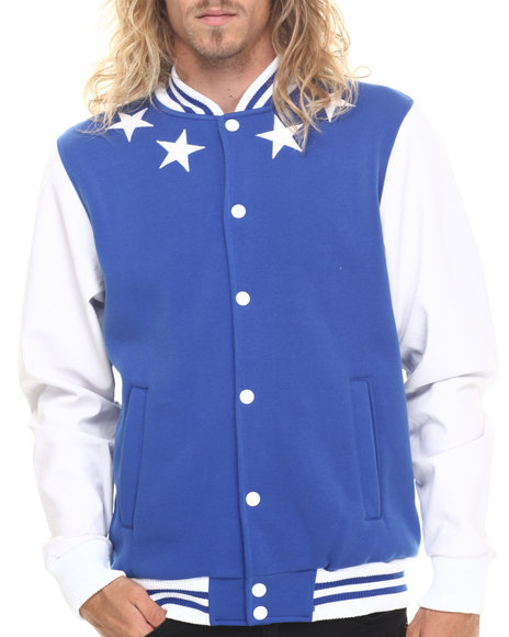 Buyers Picks - Men Blue,Blue Athletics & Stars Faux Leather Trim Varsity Jacket