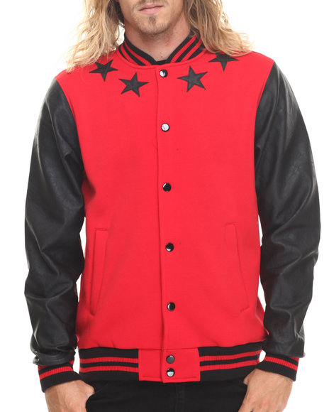 Buyers Picks - Men Red Athletics & Stars Faux Leather Trim Varsity Jacket