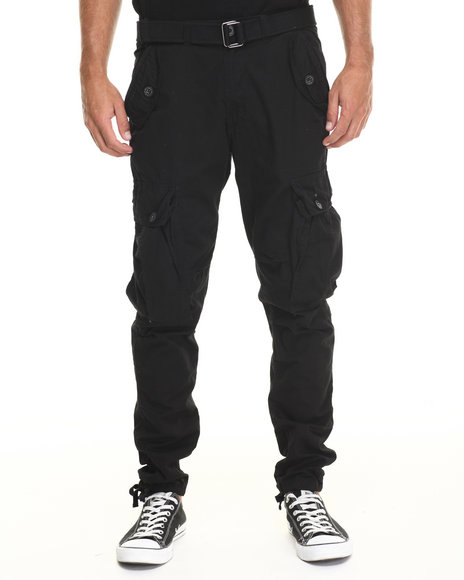 Buyers Picks - Men Black Classic Belted Slim Fit Cargo Pants