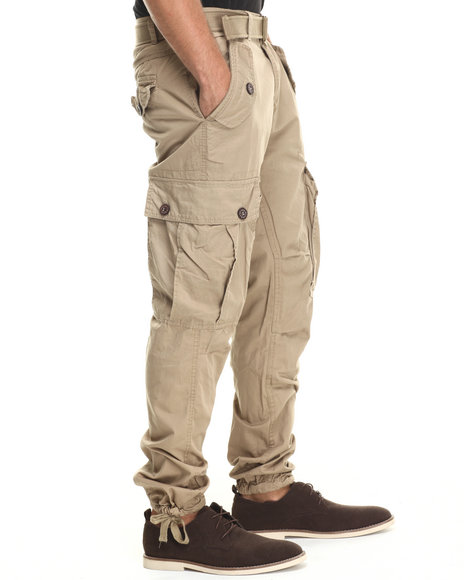 Buyers Picks - Men Khaki Classic Belted Slim Fit Cargo Pants