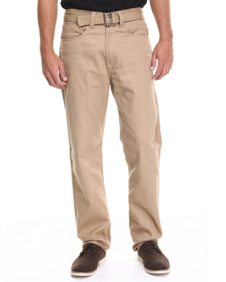 Buyers Picks - Men Khaki Heavy Twill Belted Pants