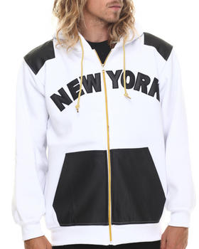 Basic Essentials - New York Faux Leather Combo Fleece Hoodie