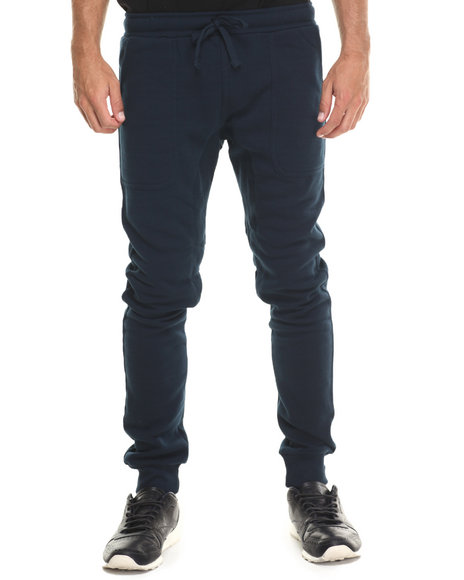 Ur-ID 222910 Basic Essentials - Men Navy Fleece Jogger Pant W/Drawstring Waist