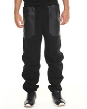 Basic Essentials - Faux Leather Combo Draw-string Fleece Pant