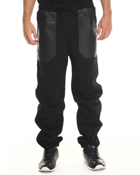 Basic Essentials - Men Black Pu Combo Draw-String Fleece Pant