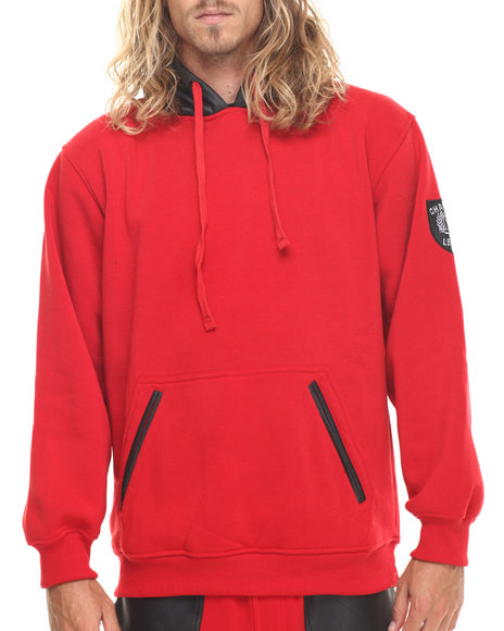 Basic Essentials - Men Red Faux Leather Hood Combo Pullover Fleece Hoodie