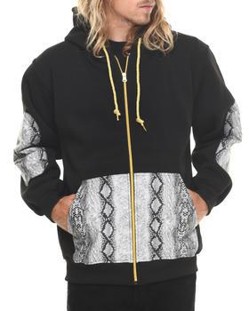 Basic Essentials - Snakeskin PU Combo Fleece Hoodie