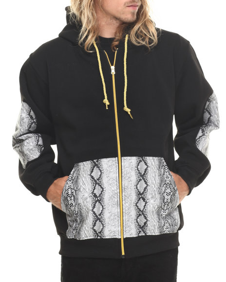 Basic Essentials - Men Black Snakeskin Pu Combo Fleece Hoodie