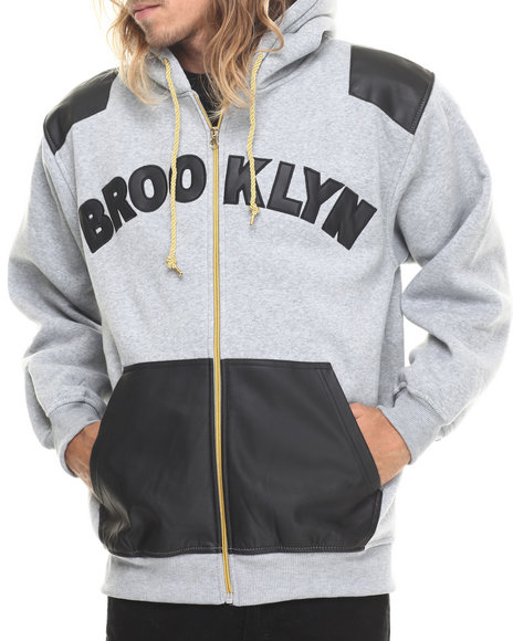 Basic Essentials - Brooklyn Faux Leather Combo Fleece Hoodie