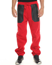 Jeans & Pants - PU Combo Draw-string Fleece Pant