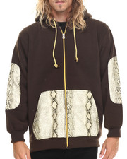 Basic Essentials - Snakeskin PU Combo Fleece Hoodie