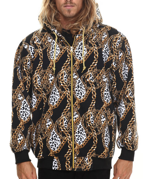 Basic Essentials - Chain Print Fleece Hoodie