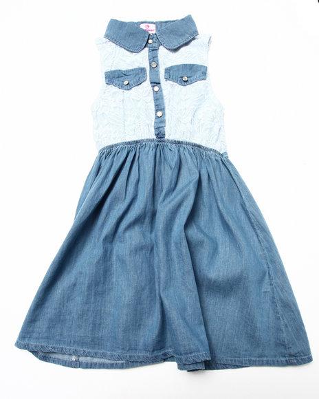 Dollhouse - Girls Light Wash,Light Wash Lace & Chambray Dress (7-16)