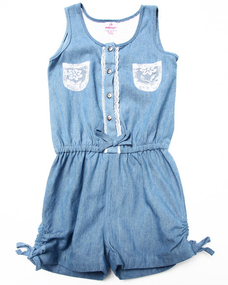 Dollhouse - Girls Light Wash,Light Wash Denim Romper W/ Crochet Pockets (7-16)