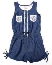 Sizes 7-16 - Big Kids - DENIM ROMPER W/ CROCHET POCKETS (7-16)