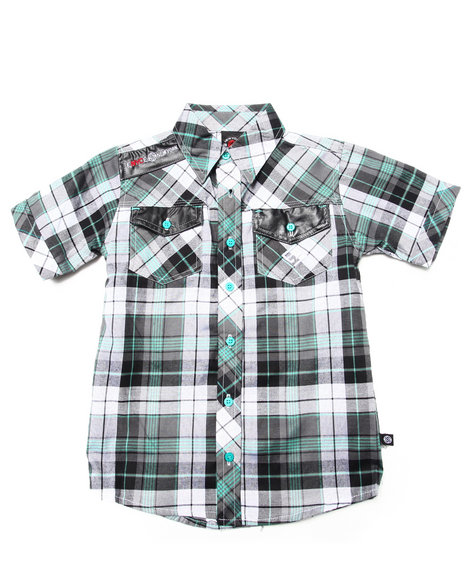 Enyce - Boys Teal S/S Plaid Woven (4-7)