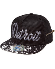 Hats - Detroit 3D Embroidery Mesh Over Snapback Hat (Side Zip Stash Pocket detail)