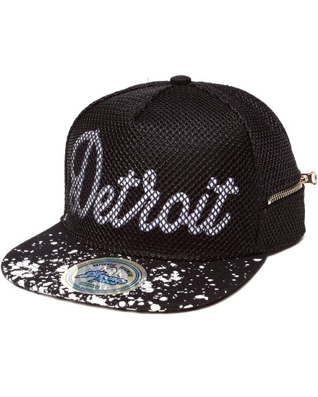 Buyers Picks Men Detroit 3D Embroidery Mesh Over Snapback Hat (Side White