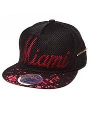 Hats - Miami 3D Embroidery Mesh Over Snapback Hat (Side Zip Stash Pocket detail)