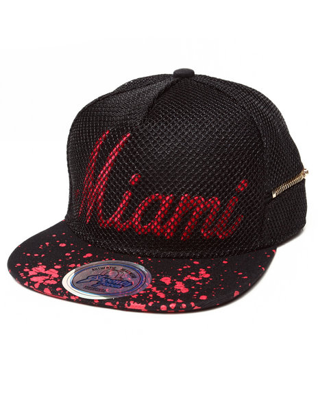 Buyers Picks Men Miami 3D Embroidery Mesh Over Snapback Hat (Side Zip Red - $9.99