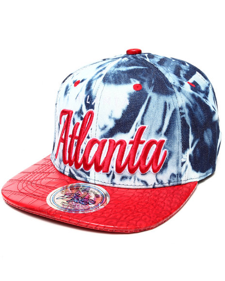 Buyers Picks Men Atlanta Tie Dye & Faux Leather Croc Strapback Hat Red