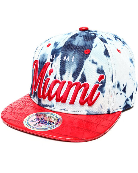 Buyers Picks Men Miami Tie Dye & Faux Leather Croc Strapback Hat Red - $8.99